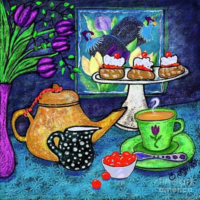 Digital Art - Tea And Scones With Cherries by Caroline Street