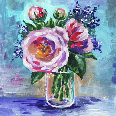 Royalty-Free and Rights-Managed Images - Tea Roses Bouquet Floral Impressionism  by Irina Sztukowski