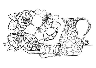 Drawing - Tea Time Drawing - Paint My Sketch by Delynn Addams