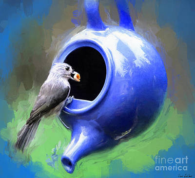 Titmouse Painting - Tea Time by Tina LeCour