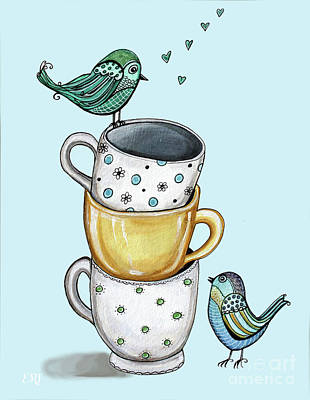 Painting - Tea Time With The Birds by Elizabeth Robinette Tyndall
