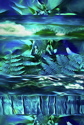 Abstract Digital Art - Teal Dreaming  by Cindy Greenstein