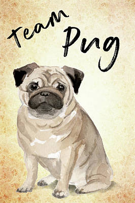 Painting - Team Pug Cute Dog Art by Matthias Hauser