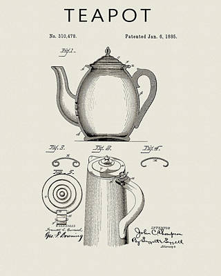 Drawing - Teapot Patent by Dan Sproul