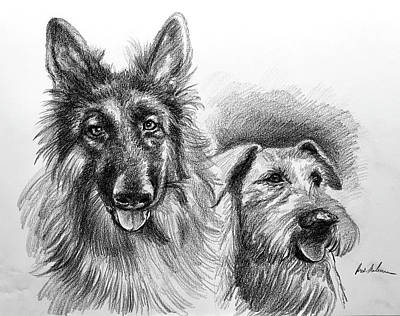 Drawing - Ted and Seamus by Robert Korhonen