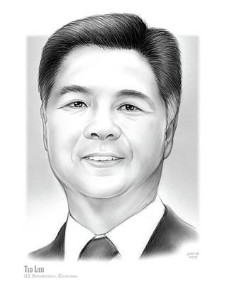 Politicians Drawings - Ted Lieu by Greg Joens