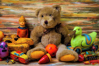 Photograph - Teddy Bear And Toy Friends by Garry Gay