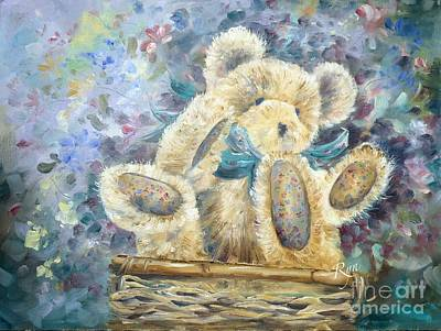 Teddy Bear In Basket Art Print