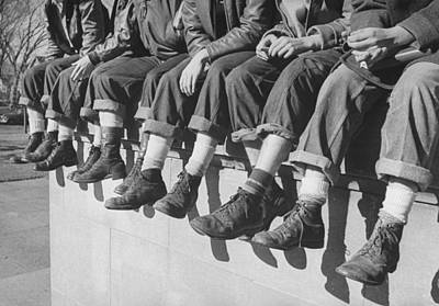 Photograph - Teenage Boys Sporting Their Latest Shoe by Alfred Eisenstaedt