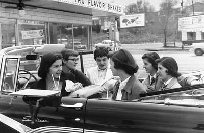 Photograph - Teenage Girls Enjoying 29 Cent Milkshake by Nina Leen