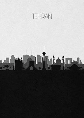 Digital Art - Tehran Cityscape Art by Inspirowl Design