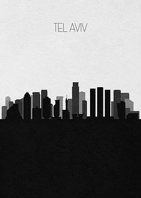 Digital Art - Tel Aviv Cityscape Art by Inspirowl Design