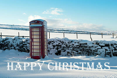Photograph - Telephone Box Snow - Happy Christmas IIi by Helen Northcott