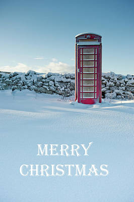 Photograph - Telephone Box Snow - Merry Christmas I by Helen Northcott