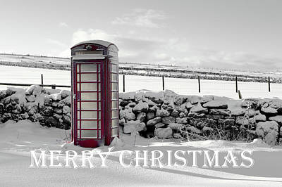 Photograph - Telephone Box Snow - Merry Christmas II by Helen Northcott