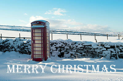 Photograph - Telephone Box Snow - Merry Christmas IIi by Helen Northcott