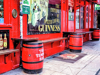 Photograph - Temple Bar Pub Casks In Dublin by John Rizzuto