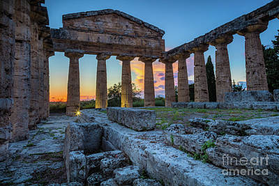 Photograph - Temple Of Athena By Night by Inge Johnsson