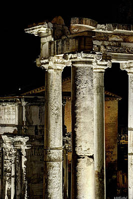 Photograph - Temple Of Saturn At Night by Weston Westmoreland