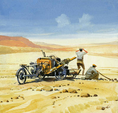 Painting - Ten Thousand Mile Motor Race In The Desert by Ferdinando Tacconi