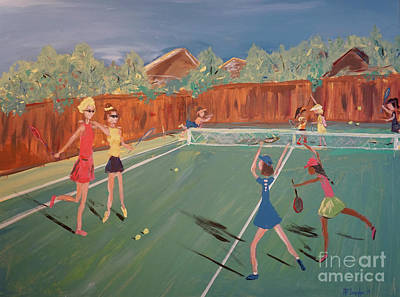 Sports Paintings - Tennis Girls by Patty Donoghue