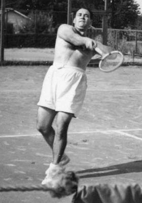 Sports Paintings - Tennis Player Action Shots Sports Man Male Shirtless Racket 40s by Celestial Images