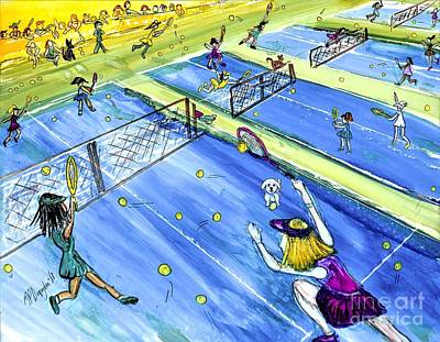 Sports Paintings - Tennis Match Whimsy by Patty Donoghue