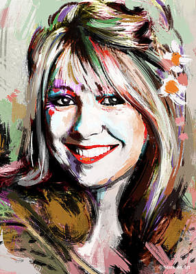 Black And White Horse Photography - Teri Garr portrait by Stars on Art