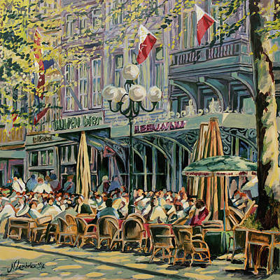 Terrace At The Vrijthof In Maastricht Art Print