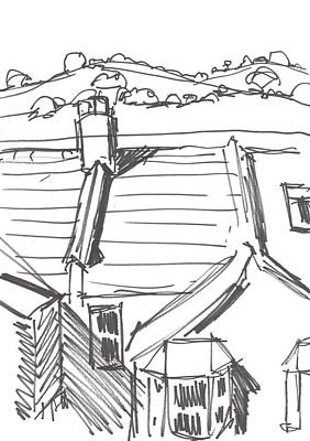 Drawing - Terraced Houses And Rolling Hills In Devon Drawing by Mike Jory