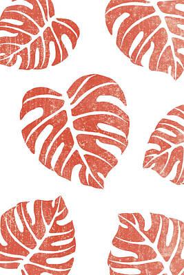 Mixed Media Royalty Free Images - Terracotta Leaf - Monstera - Terracotta Abstract Print - Modern, Minimal, Contemporary Abstract Royalty-Free Image by Studio Grafiikka