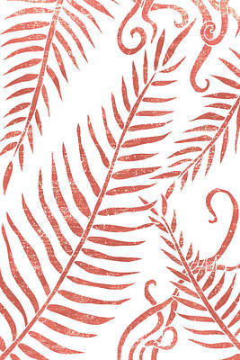 Mixed Media Royalty Free Images - Terracotta Leaves - Terracotta Abstract Print - Modern, Minimal, Contemporary Abstract - Tropical Royalty-Free Image by Studio Grafiikka