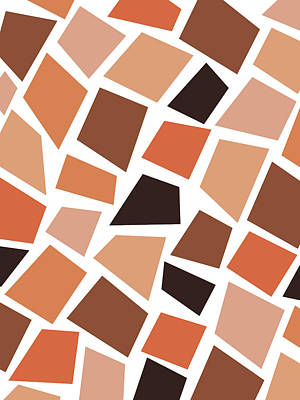 Mixed Media Rights Managed Images - Terracotta Mosaic Pattern - Modern, Contemporary Abstract - Terracotta Art - Brown - Geometric shape Royalty-Free Image by Studio Grafiikka
