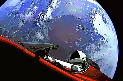 Photograph - Tesla Roadster, Starman, Planet Earth Outer Space Image by Bill Swartwout Photography