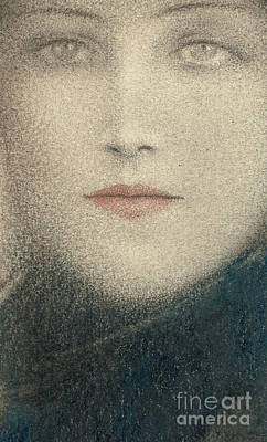 Pastel - Tete De Femme Circa 1910 by Fernand Khnopff