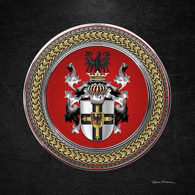 Digital Art - Teutonic Order - Coat Of Arms Special Edition Over Black Leather by Serge Averbukh