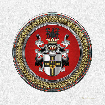 Digital Art - Teutonic Order - Coat Of Arms Special Edition Over White Leather by Serge Averbukh