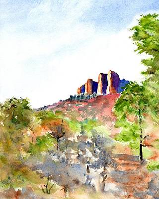Painting - Texas Big Bend Casa Grande Peak by CarlinArt Watercolor