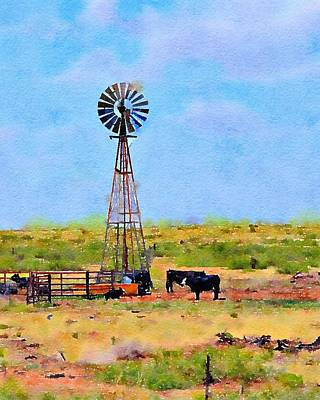 Photograph - Texas Landscape Windmill And Cattle by CarlinArt Watercolor