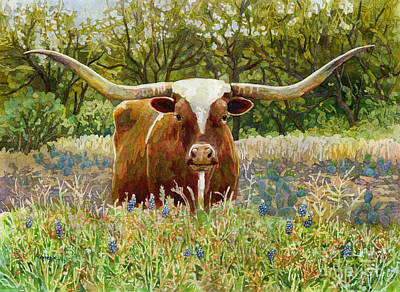 Modern Feathers Art - Texas Longhorn by Hailey E Herrera