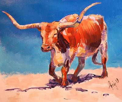 Painting - Texas Longhorn Steer Painting by Mike Jory