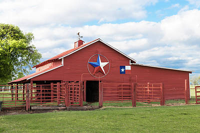 Robert Bellomy Royalty-Free and Rights-Managed Images - Texas Red Barn by Robert Bellomy