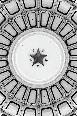 Photograph - Texas Star In The Dome Of State Capitol - Monochrome by Gregory Ballos