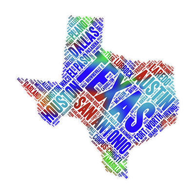 Digital Art - Texas State Map Word Art With Cities by Peggy Collins