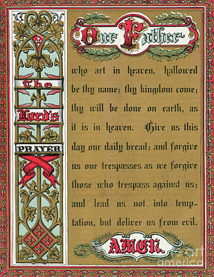 Drawing - Text Of The Lords Prayer by English School