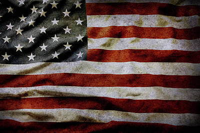 Photograph - Textured American Flag by Les Cunliffe