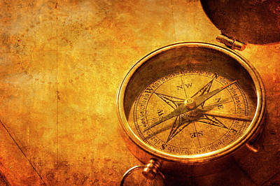 Topography Wall Art - Photograph - Textured Compass On Top Of Old Map by Dny59