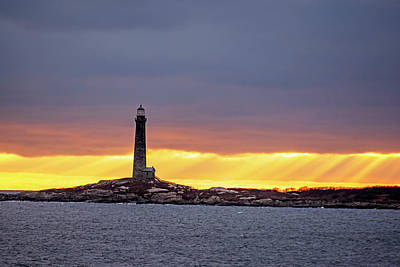 Photograph - Thacher Island Lighthouse At Sunrise Sunrays Rockport Ma by Toby McGuire