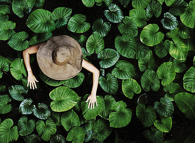 Leaf Photograph - Thai Woman With Tropical Leaves by David Trood