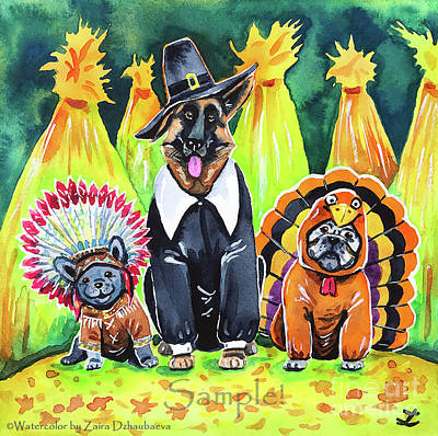 Painting - Thanksgiving Pups by Zaira Dzhaubaeva